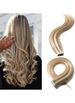 Makeupsbuy Customized Double Drawn Highlight 100g/40pcs Straight Golden Brown Mix Bleach Blonde Baylage Color 12/613# Pu Tape In Virgin Hair Extension