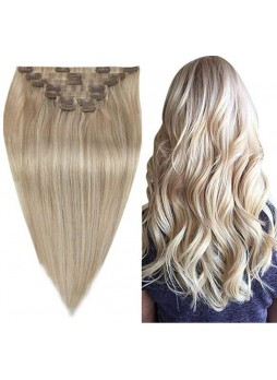 Makeupsbuy Customized Double Drawn  120g Straight Ash Blonde 18/613# Blonde Clin In Virgin Hair Extension