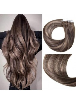 Makeupsbuy Customized Double Drown 100g/40pcs Straight Highlight  Dark Brown Mix Bleach Blonde Baylage Color Pu Tape In Virgin Hair Extension