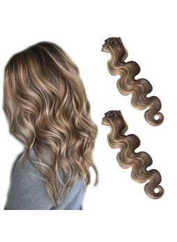 Makeupsbuy Customized Double Drawn 120g Body Wave Mid Brown 2/613# Blonde Clin In Virgin Hair Extension