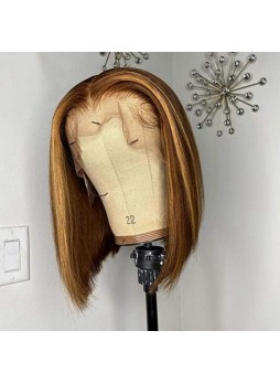 Makeupsbuy 180% Customized 12A Human Hair Piano Color #4/27 Blonde Bob Wig Remy Straight Lace Medium Brown Honey Blonde Wigs