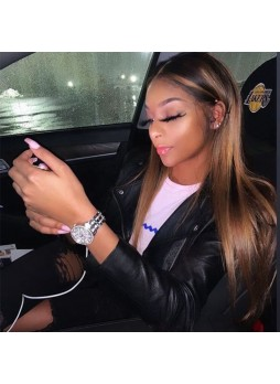 Makeupsbuy 150% Customized 12A Highlight Color Brazilian Remy Hair Glueless Lace Front Wigs With Baby Hair Pre-plucked