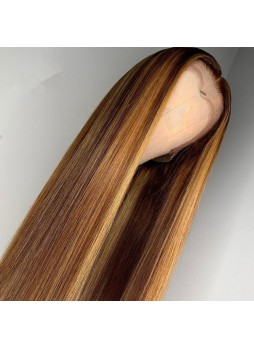 Makeupsbuy 180% Customized 12A Highlight Color Brazilian Remy Hair Gluelesa Lace Front Wigs With Baby Hair Pre-plucked