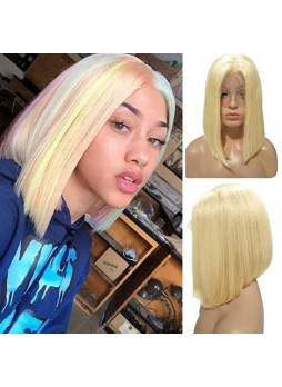 Makeupsbuy 180% Customized 12A Blonde Bob Wig Brazilian Remy Hair Gluelesa Lace Front Wigs With Baby Hair Pre-plucked