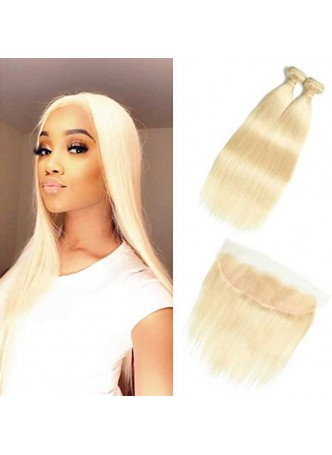 Makeupsbuy Grade 10a 613# Blonde Silky Straight Hair Weave Bundles with frontal 13x4 100% Unprocessed Virgin Human Hair Extensions