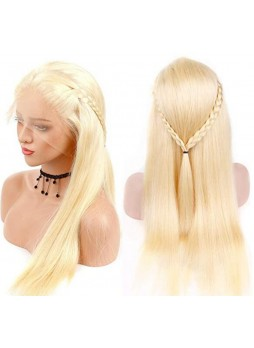 Makeupsbuy 180% Customized 12A 613# Blonde Brazilian Remy Hair Gluelesa Lace Front Wigs With Baby Hair Pre-plucked