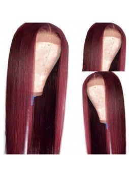 Makeupsbuy 180% Customized 12A 99j Color Brazilian Remy Hair Gluelesa Lace Front Wigs With Baby Hair Pre-plucked