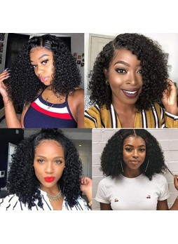 Makeupsbuy 180% Customized 12A natural Color Bob Curl Brazilian Remy Hair Gluelesa Lace Front Wigs With Baby Hair Pre-plucked