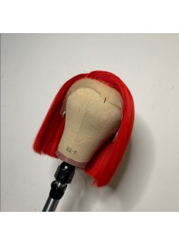 Makeupsbuy 150% Customized 12A Red Bob Wig Brazilian Remy Hair Gluelesa Lace Front Wigs With Baby Hair Pre-plucked