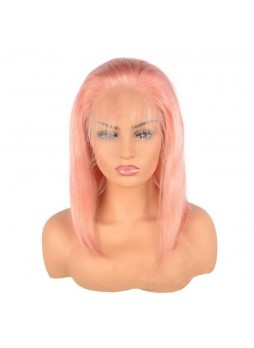 Makeupsbuy 180% Customized 12A Light Pink Bob Wig Brazilian Remy Hair Gluelesa Lace Front Wigs With Baby Hair Pre-plucked