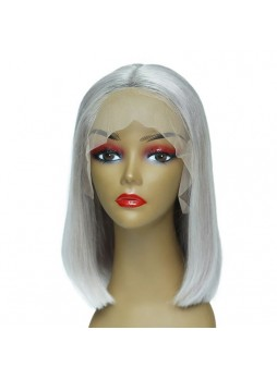 Makeupsbuy 180% Customized 12A Grey Bob Wig Brazilian Remy Hair Gluelesa Lace Front Wigs With Baby Hair Pre-plucked