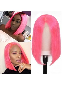Makeupsbuy 180% Customized 12A Dark Pink Bob Wig Brazilian Remy Hair Gluelesa Lace Front Wigs With Baby Hair Pre-plucked
