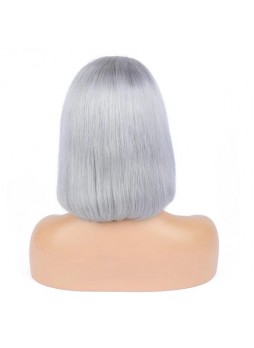 Makeupsbuy 150% Customized 12A Grey Bob Wig Brazilian Remy Hair Glueless Lace Front Wigs With Baby Hair Pre-plucked