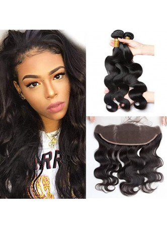 Makeupsbuy Grade 10a Silky Body Wave Hair Weave Bundles with frontal 13x4 100% Unprocessed Virgin Human Hair Extensions