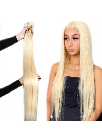 Makeupsbuy Double Drawn 3 Pieces 10-40inch 613# blonde Silky Straight Hair Weave Bundles Thick and Full 100% Unprocessed Virgin Human Hair Extensions
