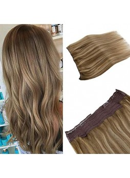 Makeupsbuy Customized Double Drawn 100g Straight Halo Flip on Human Hair Extensions Balayage Ombre Light Brown to Golden Blonde and Brown Invisible Wire Natural