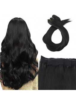 Makeupsbuy Customized Double Drawn Halo 100g Straight Flip on Remy Human Hair Extension No Glue Invisible Wire black Color