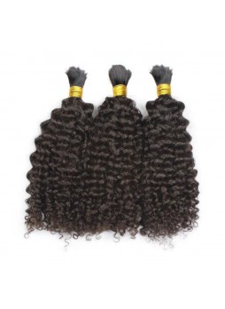 Makeupsbuy Double Drawn 3Pcs 8-40inch Hair Bulk For Braiding Kinky Curl Thick and Full 100% Unprocessed Virgin Human Hair Without Weft
