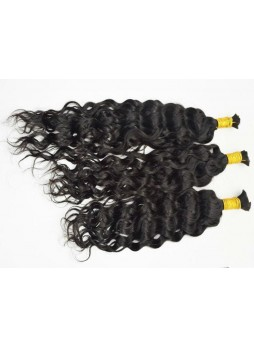 Makeupsbuy Double Drawn 3Pcs 8-40inch Hair Bulk For Braiding Natural Wave Thick and Full 100% Unprocessed Virgin Human Hair Without Weft