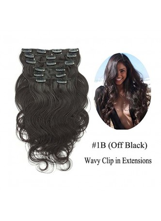 Makeupsbuy Customized Double Drawn 180g Natural Color Black Body Wave Clip In Virgin Hair Extension