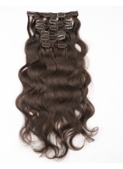 Makeupsbuy Customized Double Drawn Brown Body Wave Clip In Virgin Hair Extension 120g