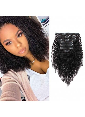 Makeupsbuy Customized Double Drawn Kinky Curly 150g Natural Color Black  Clip In Virgin Hair Extensions