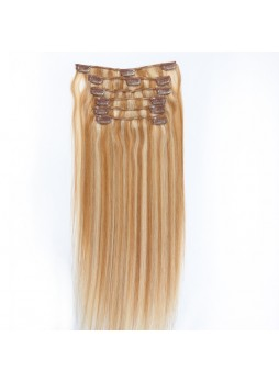 Makeupsbuy Customized Double Drawn 120g Straight Highlight 12/613# Brown Blonde Clip In Virgin Hair Extensions