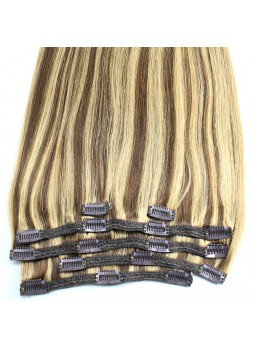 Makeupsbuy Customized Double Drawn Straight 120g highlight brown blonde 2/613# Clip In Virgin Hair Extension