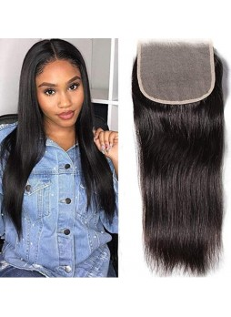 Makeupsbuy HD 4X4 inch Undetectable Invisible Straight Swiss Lace Closure Human Hair 130% 1B Pre Plucked With Baby Hair Soft Remy Brazilian Human Hair