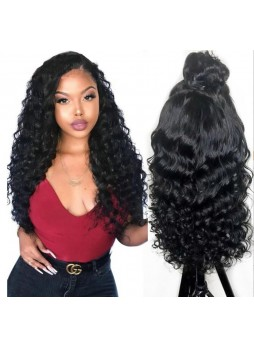 Makeupsbuy 150% Customized 12A natural Color loose wave Brazilian Remy Hair Gluelesa Lace Front Wigs With Baby Hair Pre-plucked