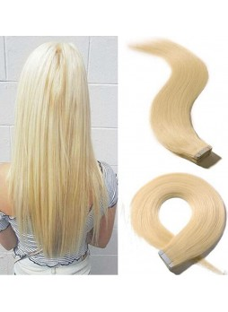 Makeupsbuy Customized Double Drawn 100g/40pcs 613# Blonde Straight Pu Tape Virgin Hair Extension
