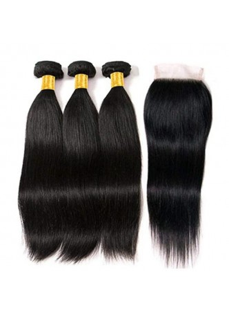 Makeupsbuy Grade 10a Silky Straight Hair Weave Bundles with closure 4x4 100% Unprocessed Virgin Human Hair Extensions
