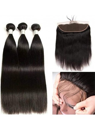 Makeupsbuy Grade 10a Silky Straight Hair Weave Bundles with frontal 13x4 100% Unprocessed Virgin Human Hair Extensions