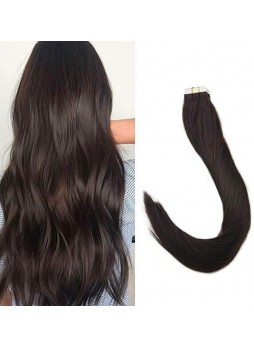 Makeupsbuy Customized Double Drawn 100g/40pcs Straight Dark Brown 2# Pu Tape In Virgin Hair Extension