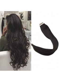 Makeupsbuy Customized Double Drawn Natural Color 1B# Pu Tape In Virgin Hair Extension 100g/40pcs