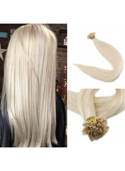 Makeupsbuy Customized Double Drawn 100g Straight U Tip Blonde Color 60# Extensions Human Hair 1g Per Strand Per Package Pre Bonded Remy Hair
