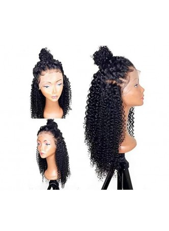 Makeupsbuy 150% Customized 12A natural Color  kinky curl Brazilian Remy Hair Glueless Lace Front Wigs With Baby Hair Pre-plucked