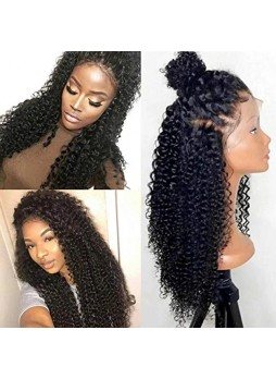 Makeupsbuy 180% Customized 12A natural Color kinky curl Brazilian Remy Hair Gluelesa Lace Front Wigs With Baby Hair Pre-plucked