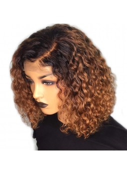 Makeupsbuy 130% Customized 12A Ombre 1b/27 Bob Curl Wig Brazilian Remy Hair Glueless Lace Wigs With Baby Hair Pre-plucked