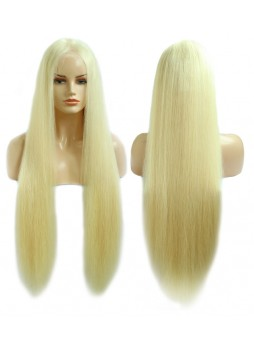 Makeupsbuy 130% 8-40inch Customized 12A 613# Blonde Brazilian Remy Hair Glueless Lace Front Wigs With Baby Hair Pre-plucked