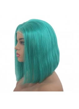 Makeupsbuy 130% Customized 12A Green Bob Wig Brazilian Remy Hair Glueless Lace Front Wigs With Baby Hair Pre-plucked