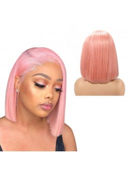 Makeupsbuy 130% Customized 12A Light Pink Bob Wig Brazilian Remy Hair Glueless Lace Front Wigs With Baby Hair Pre-plucked