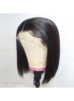 Makeupsbuy 130% Customized 12A Bob Wig Natural Color Brazilian Remy Hair Glueless Lace Front Wigs With Baby Hair Pre-plucked