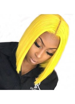 Makeupsbuy 130% Customized 12A Yellow Bob Wig Brazilian Remy Hair Glueless Lace Front Wigs With Baby Hair Pre-plucked