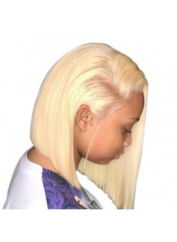 Makeupsbuy 150% Customized 12A Blonde Bob Wig Brazilian Remy Hair Glueless Lace Front Wigs With Baby Hair Pre-plucked