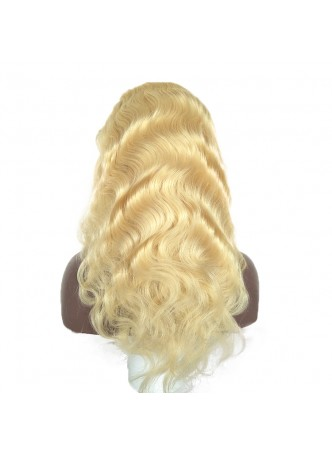 Makeupsbuy 150% Customized 12A 613# Body Wave Blonde Brazilian Remy Hair Glueless Lace Front Wigs With Baby Hair Pre-plucked