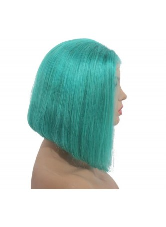 Makeupsbuy 150% Customized 12A Green Bob Wig Brazilian Remy Hair Glueless Lace Front Wigs With Baby Hair Pre-plucked