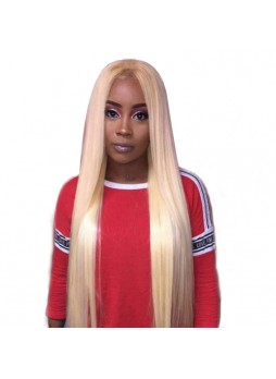 Makeupsbuy 150% Customized 12A 613# Blonde Brazilian Remy Hair Glueless Lace Front Wigs With Baby Hair Pre-plucked